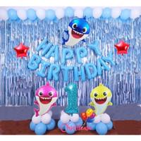 Set paket balon ultah baby shark ulang tahun anak birthday ikan