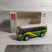 Miniatur Diecast Bus Yeading Ban karet Pullback