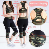 ARMY SET LEGGING Baju Senam Wanita Baju Zumba Original