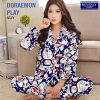 baju tidur piyama dewasa celana panjang lengan panjang motif doraemon