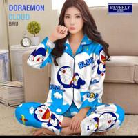 baju tidur piyama celana panjang lengan panjang motif doraemon awan