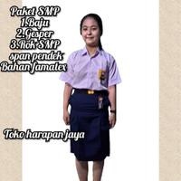 Setelan seragam sekolah SMP biru(baju/rok span/gesper) size S-L7 - S