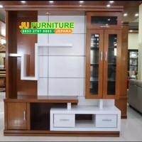 partisi penyekat ruangan, almari tv minimalis modern kayu jati