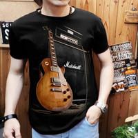 kaos cowok keren motif gitar marshal /t-shirt pria spandek keren murah