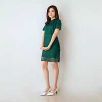 Dress Brukat Wanita Baju Kondangan Mini Dress Brukat - Hijaubotol