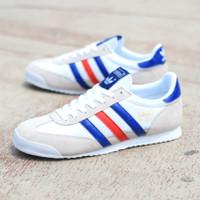 Sepatu Casual Sneakers Adidas Dragon White France Blue Red Original