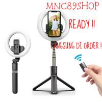 Tongsis Bluetooth Ringlight Led Tripod Selfie Stick