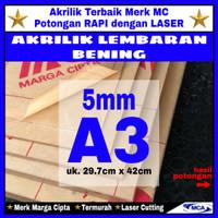 AKRILIK lembaran 5mm uk. A3 / Akrilik bening / Marga cipta / Arcylic