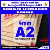 AKRILIK lembaran 4mm uk. A2 / Akrilik bening / Marga cipta / Arcylic