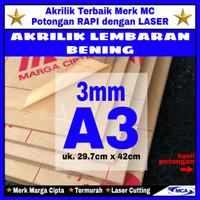 AKRILIK lembaran 3mm uk. A3 / Akrilik bening / Marga cipta / Arcylic
