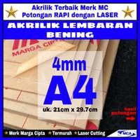 AKRILIK lembaran 4mm uk. A4 / Akrilik bening / Marga cipta / Arcylic