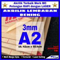 AKRILIK lembaran 3mm uk. A2 / Akrilik bening / Marga cipta / Arcylic