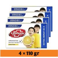 lifebuoy lemon fresh sabun batang 110 gr isi 4