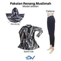 pakaian renang wanita muslimah dewasa motif - Hitam, S