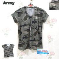 Kaos / T - Shirt / Tumblr Tee / Wanita / Cewek / Army Size L