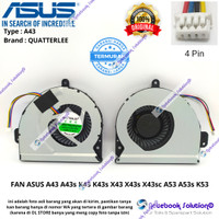 KIPAS COOLING FAN ASUS A43 A43s K43 K43s X43 X43s X43sc A53 A53s K53 B