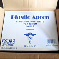 Surgical Gown Apron Plastik Plastic Surgery Celemek Putih APD LDPE