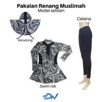 pakaian renang wanita muslimah dewasa - Hitam, S