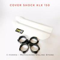 Cover shock depan KLX 150 plus klem / tutup shock depan KLX 150 - Putih