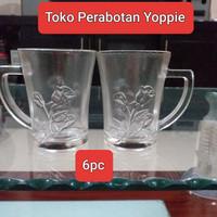 Gelas minum gagang - Gelas kopi gagang - Gelas kembang - Gelas beling