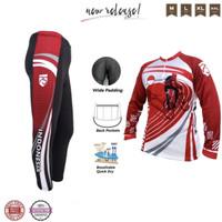 Stelan baju dan celana sepeda padding busa premium quality sebetis