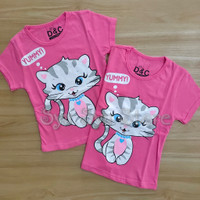 Baju Atasan Kaos Anak Perempuan Cewek Kucing Cat Yummy Fanta