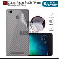 Xiaomi Redmi 3S Anti Gores Belakang Skin Carbon Karbon Garskin