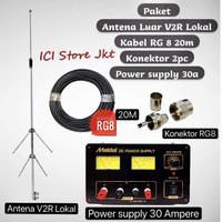 Paket Antena , kabel dan Power suppy untuk radio rig