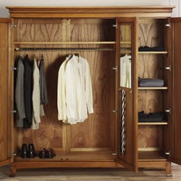 lemari pakaian pintu 3 minimalis mewah jati tua solid