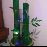 tambah lampu untuk air terjun bambu replika