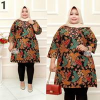 Baju batik tunik atasan wanita super jumbo ld 140 motif coklat daun