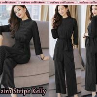 baju setelan wanita stripe kelly/setelan atasan celana wanita terbaru
