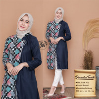 Baju Wanita Kombinasi Batik Lengan Panjang