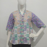 blouse batik printing trikot kancing/baju kantor wanita/tunik batik