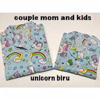 Piyama UNICORN BIRU bisa couple mom and kids bajutidur piyama