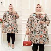 Baju batik tunik atasan wanita super jumbo ld 140 motif daun burung