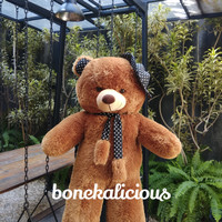 boneka beruang teddy bear syal topi 100 cm 1 meter super besar jumbo