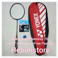 Free pasang Raket badminton YONEX NANORAY 70 LIGHT+Tas+Senar+Grip ORI