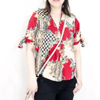 Blouse batik songket wanita Vneck lengan pendek model terbaru