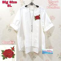 Fashion Wanita / Atasan / Blouse / Big Size / Putih / Bunga 5L