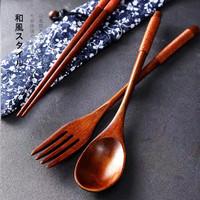 Sendok Garpu Sumpit Kayu / Sujeo Set / Alat makan Korea Jepang
