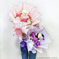 The dolly/bouquet artificial/buket wisuda/buket bunga/kado boneka - softpink rose