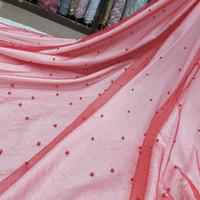 kain tile mutiara gliter soft tulle pearl/bahan gaun dress/brokat