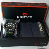 jam tangan pria DIGITEC 3118 Tali rubber Dualtime free Dompet original