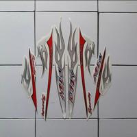 sticker/striping yamaha mio sporty merah-putih motif api