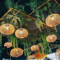 Kap Lampu Bambu Gantung Lampion