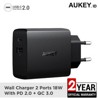 Aukey PA-Y17 - Charger Fast Charging 2 Port PD 2.0 & QC 3.0 18W
