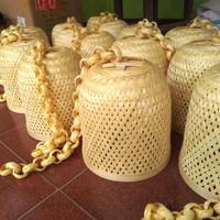 kap lampu gantung bambu diameter 20 cm