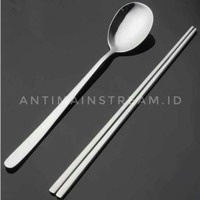Sujeo Sendok Sumpit Korea Stainless Steel Silver - Sendok Makan Korea