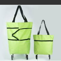 foldable shopping trolley bag/tas belanja lipat troley/tas travelling - Hijau